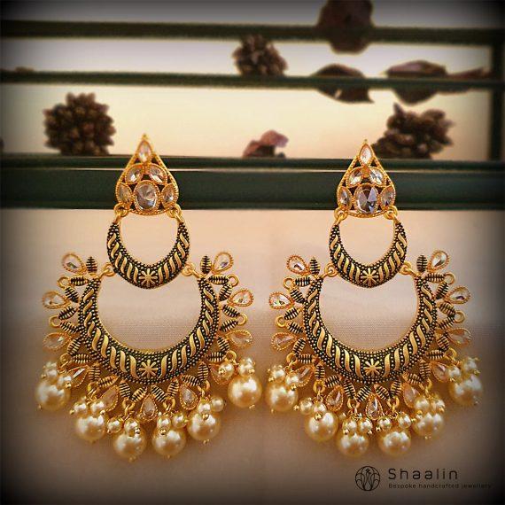 Gorgeous Hand Painted Layered Chandbali Earrings-02