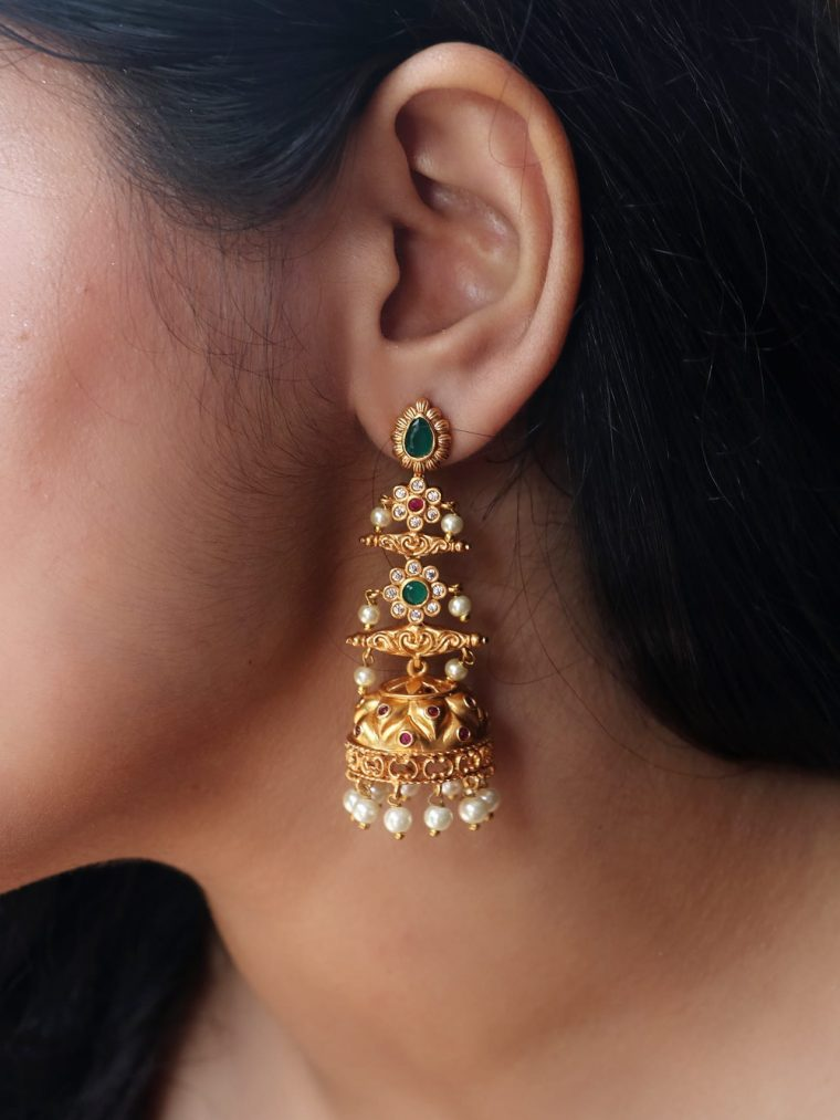 Gorgeous Long Drop AD Stone Pearl Jhumka-01