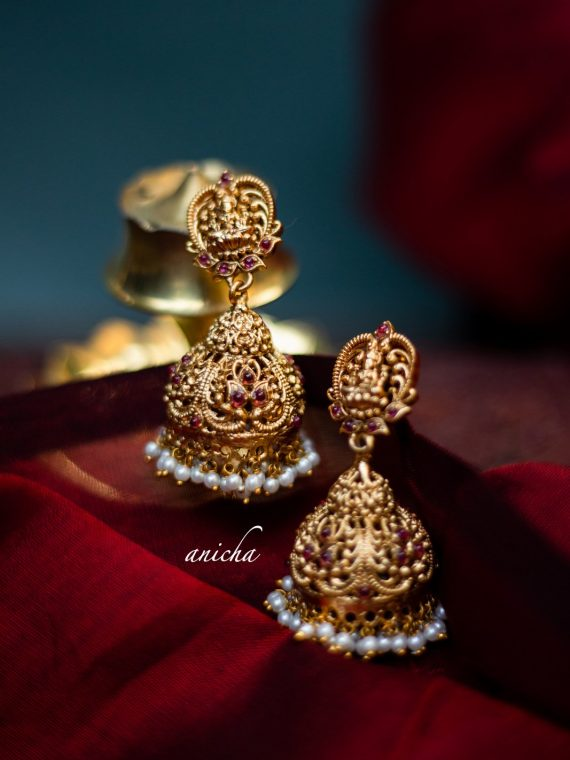 Gorgeous Ruby Stone and Pearl drop Lakshmi Jhumkas-01