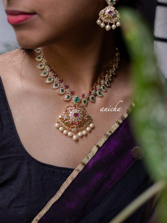 Gorgeous Trendy AD Stone Paisley Necklace-02