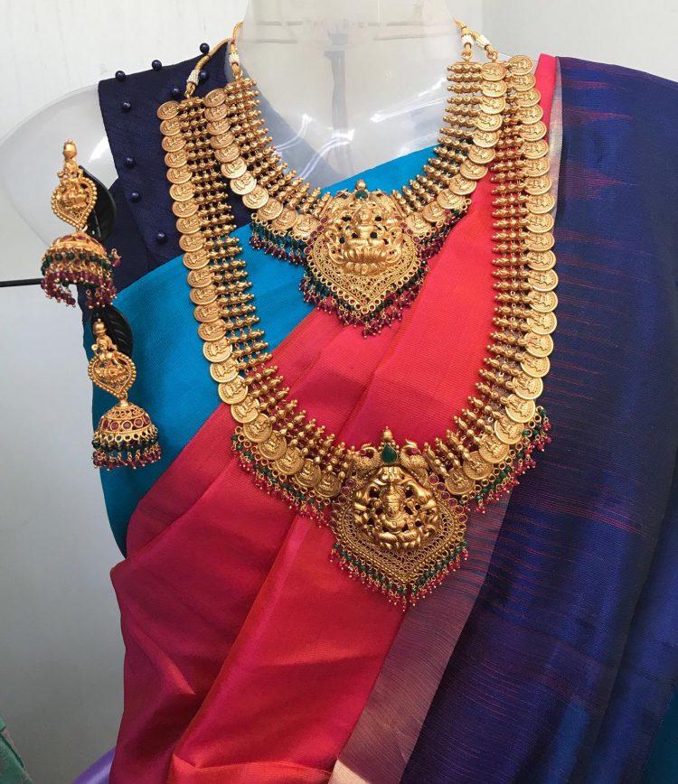 Grand Bridal Matte Lakshmi Coin Necklace-01