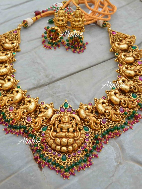 Grand Bridal Temple Lakshmi Nagas Necklace-01