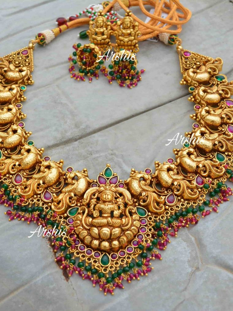 Grand Bridal Temple Lakshmi Nagas Necklace-01
