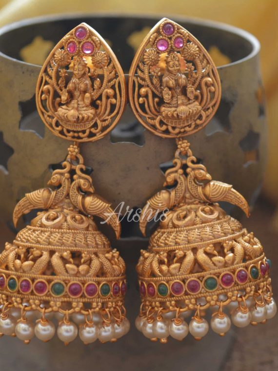 Grand Temple Lakshmi Long Jhumka with Pearls-01