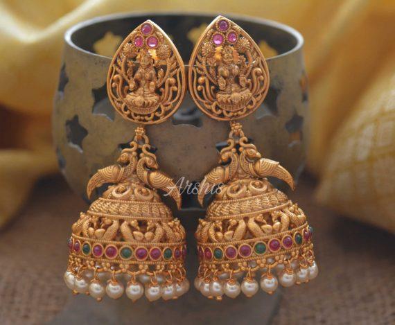 Grand Temple Lakshmi Long Jhumka with Pearls-01