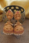 Grand Temple Lakshmi Long Jhumka with Pearls-02
