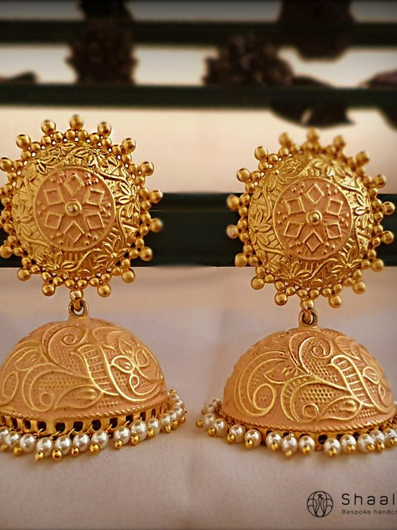 Hand Painted Brass Based Jhumkas-01