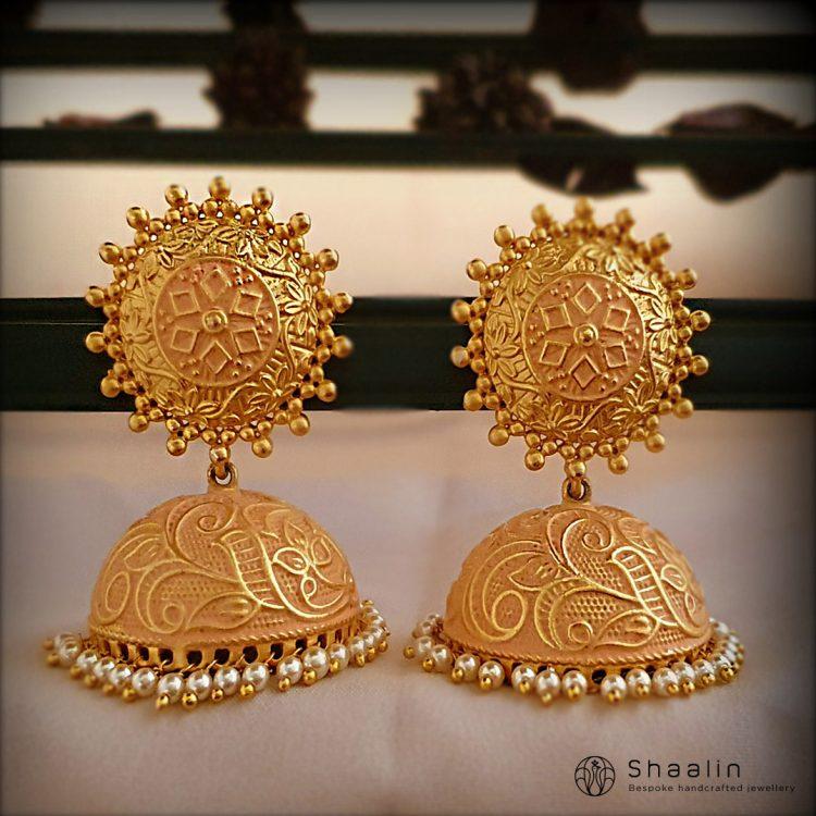 Hand Painted Brass Based Jhumkas-01