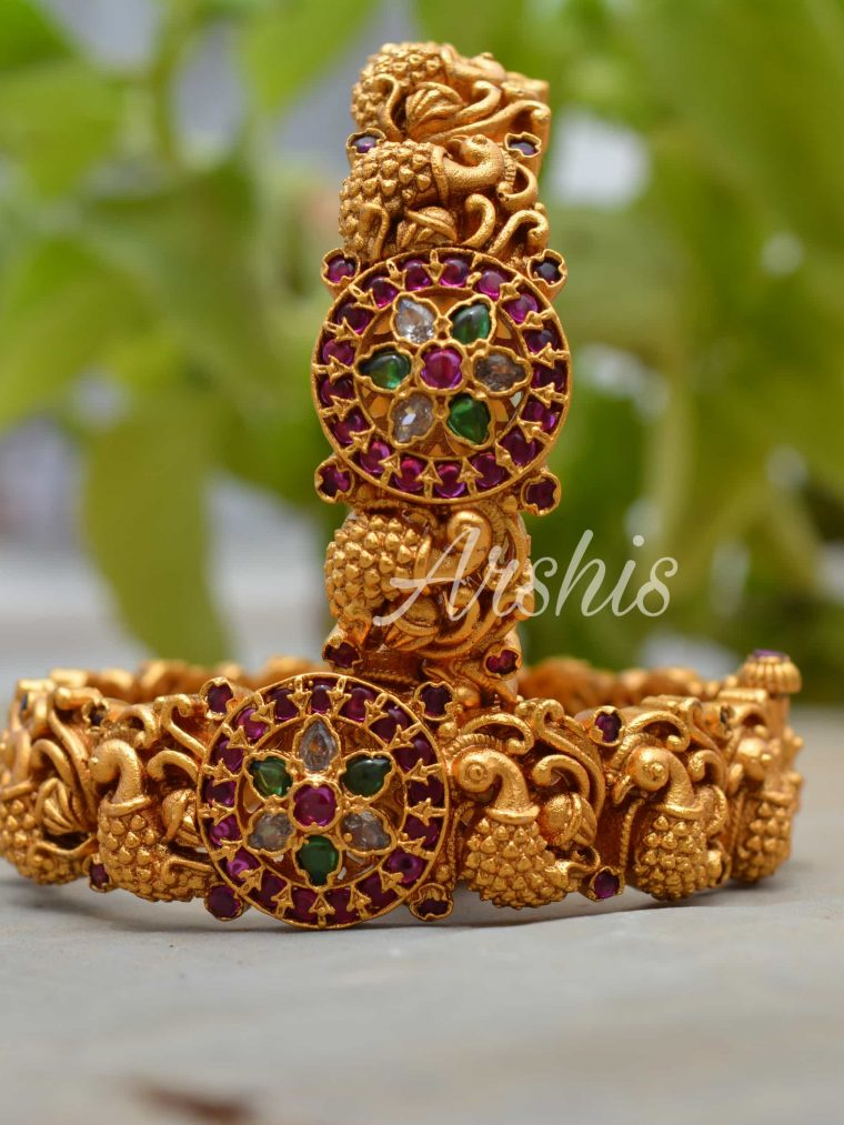 Handcrafted Temple Work Nagas Bangles-01
