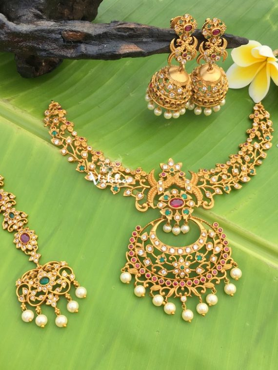 Hot Selling Chandbali Necklace with Maang Tikka-01