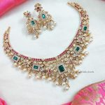 Imitation AD Matte Ruby & Green Stone Necklace (2)