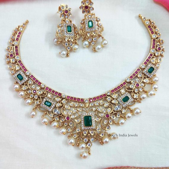 Imitation AD Matte Ruby & Green Stone Necklace (3)