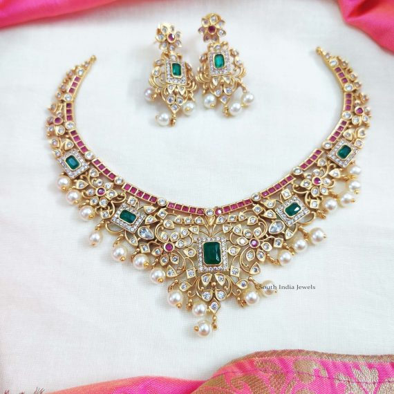 Imitation AD Matte Ruby & Green Stone Necklace