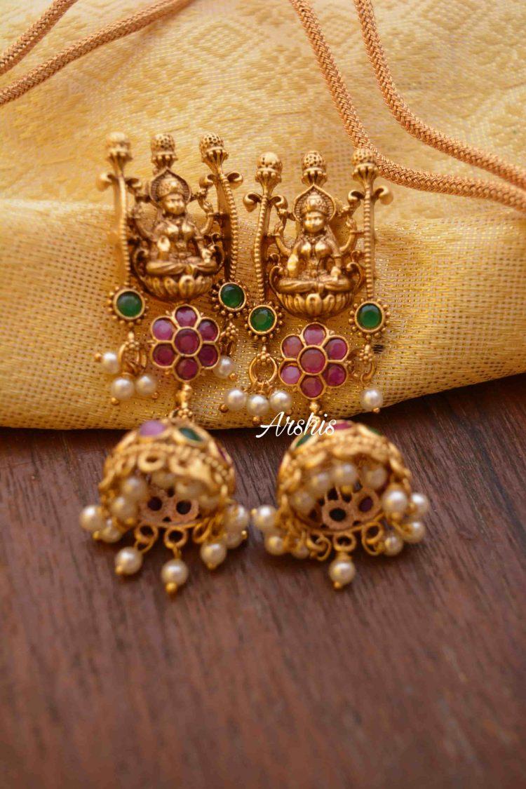 Imitation Goddess Lakshmi Flower Design Necklace-03