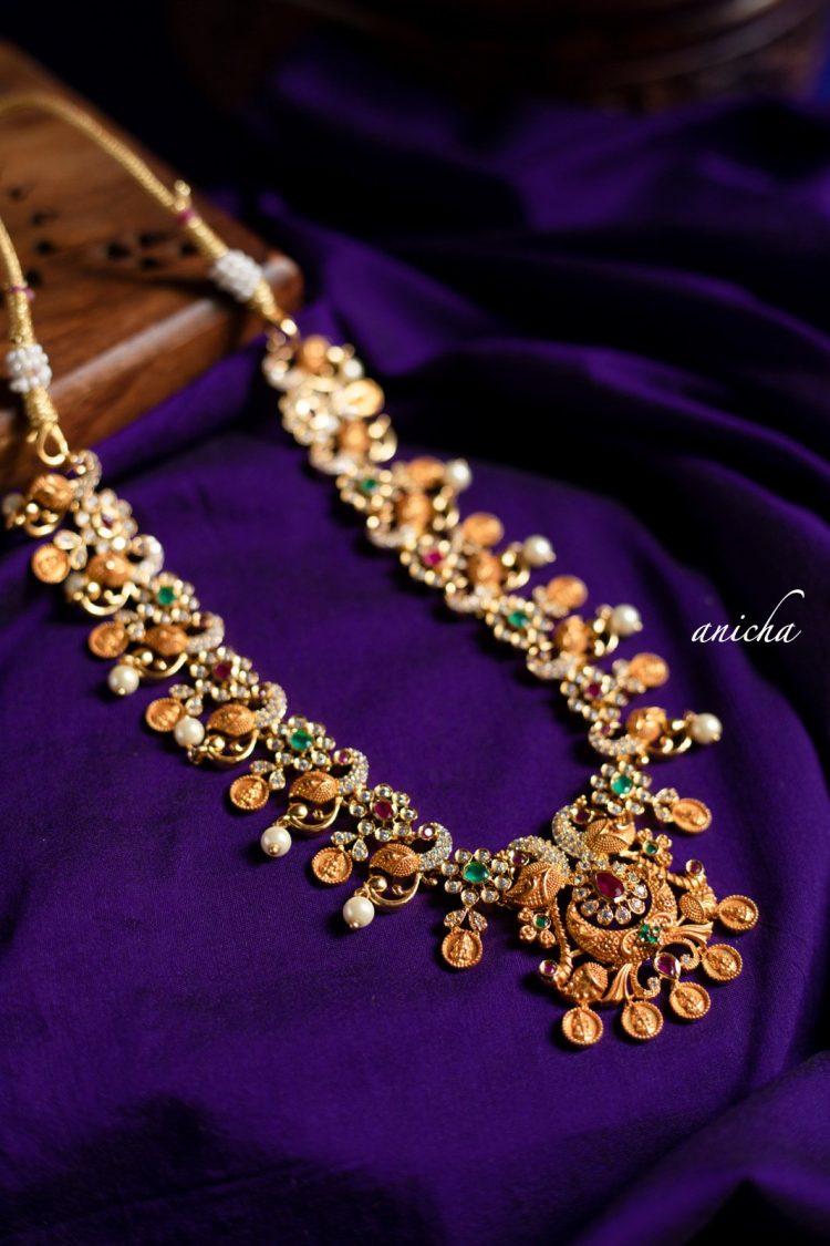 Imitation Gold Peacock Coin Necklace-01