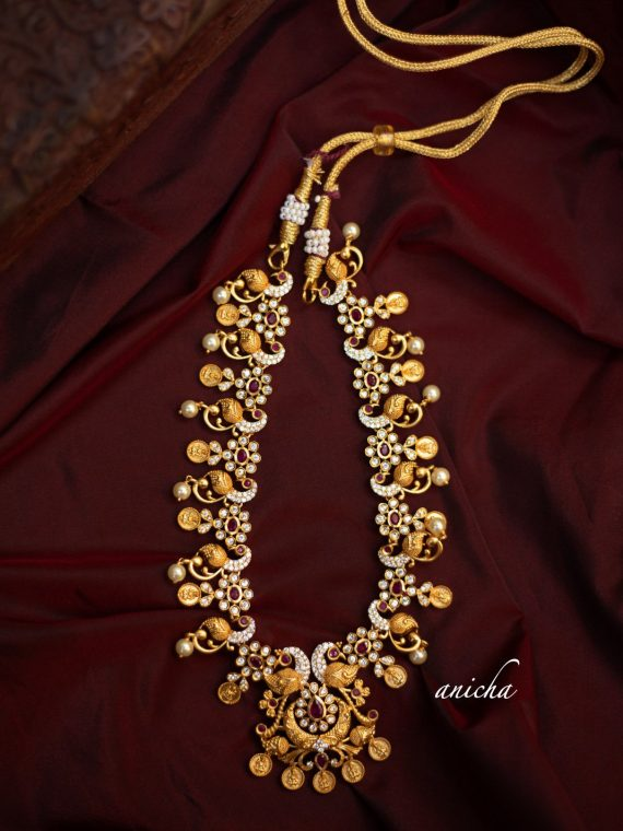 Imitation Gold Ruby Stone Peacock Coin Necklace-01