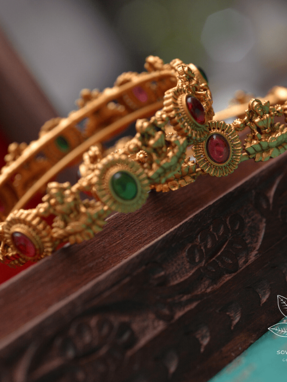 Imitation Red & Green Stone Lakshmi Bangles-01