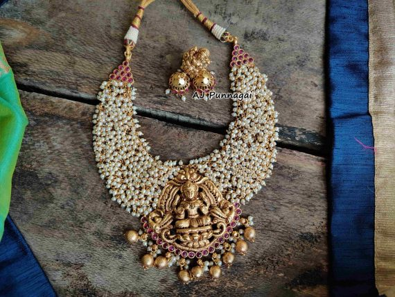 Imitation Ruby Stone Pearl Lakshmi Necklace-01