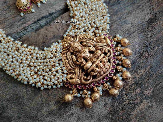 Imitation Ruby Stone Pearl Lakshmi Necklace-02