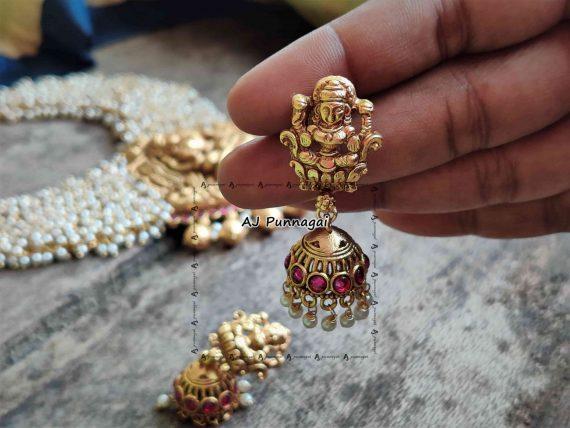 Imitation Ruby Stone Pearl Lakshmi Necklace-03