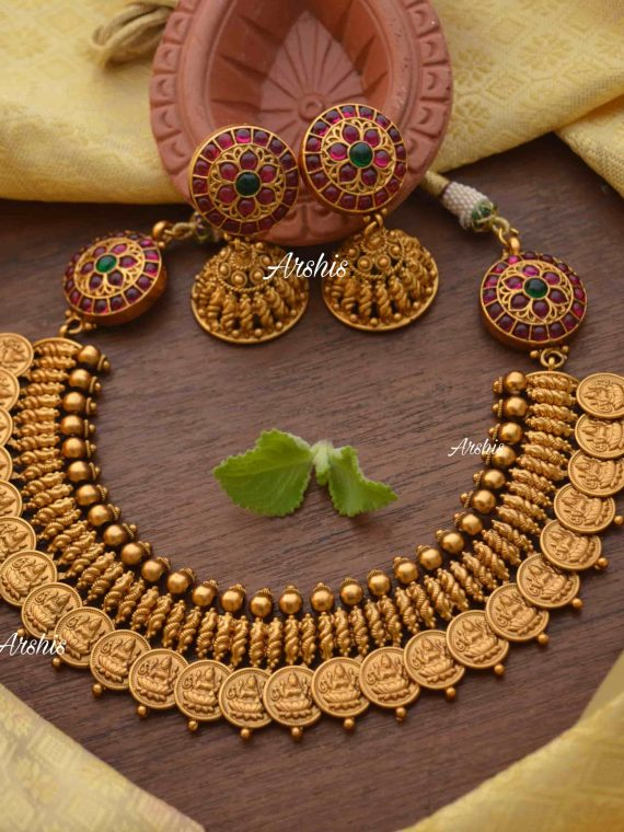 Lakshmi Coin with Side Mogapu Necklace-01