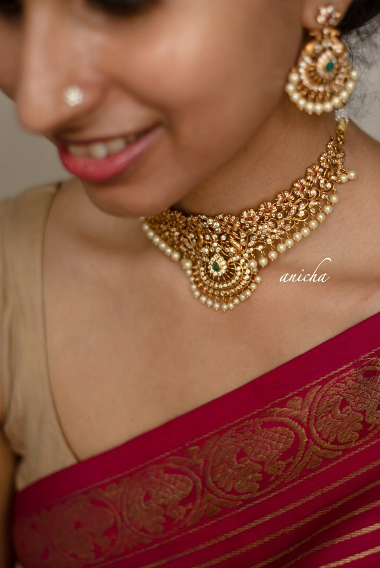 Matte Finish Cutwork Choker with AD Stones-03
