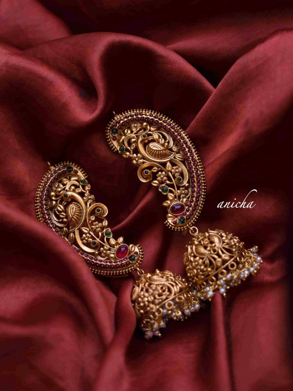 Matte Gold Finish Statement Peacock Ear Cuff Jhumkas-01