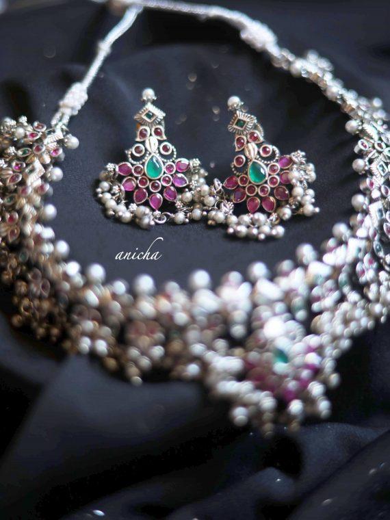 Matte Silver Petal Guttapusalu Necklace-01