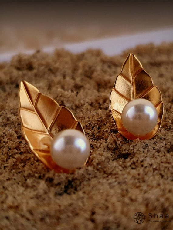 Minimalastic Gold & Silver Plated Leaf Design Studs-01