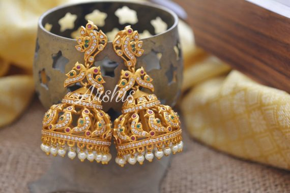 One Gram Gold Peacock Jhumka-01