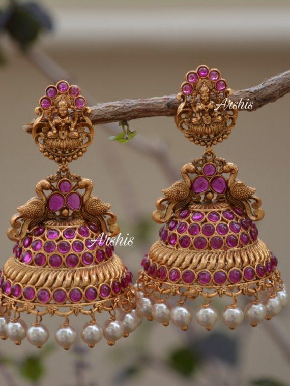 Pearl Hanggings Matte Lakshmi Jhumkas-01