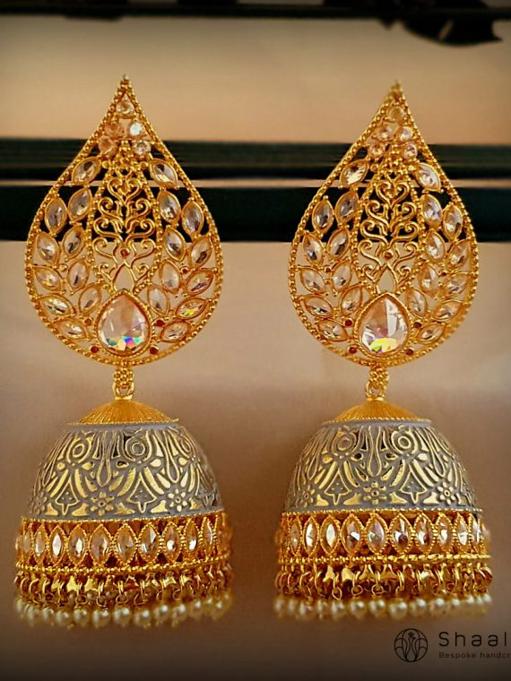 Premium Deep Greay Hand Painted Jhumka-01