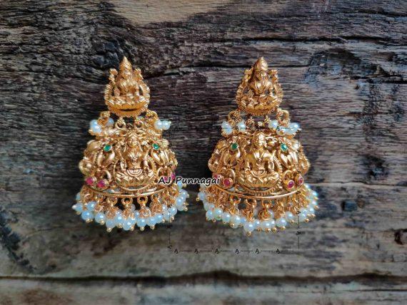 Premium Quality Temple Lakshmi Jhumkas-01