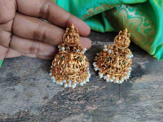 Premium Quality Temple Lakshmi Jhumkas-02