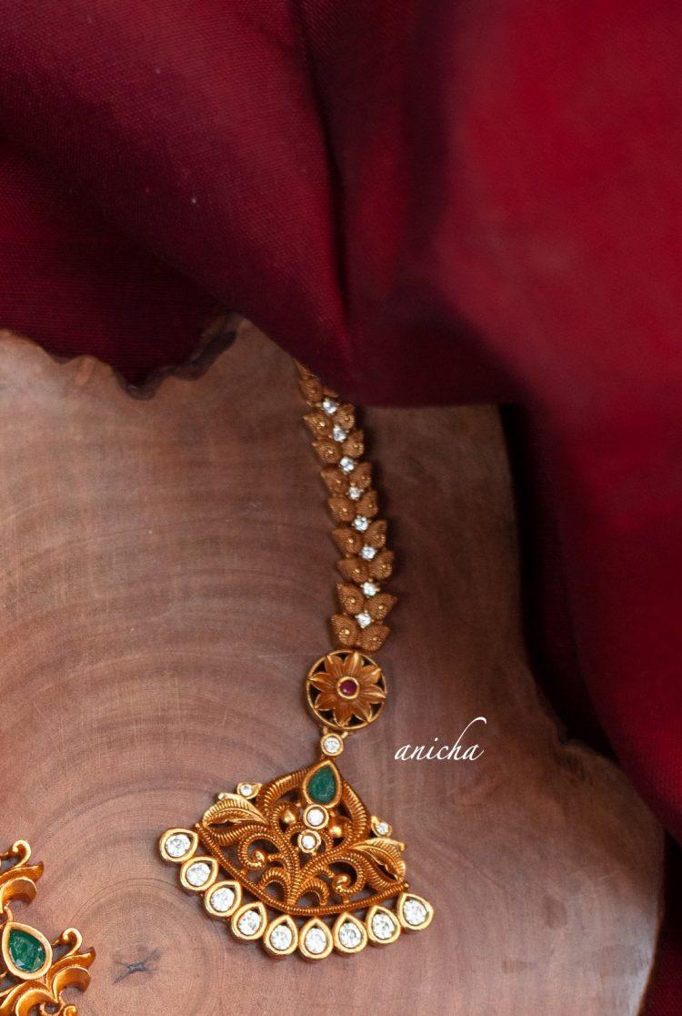 Pretty Copperish Gold Matte Maang Tikka-02