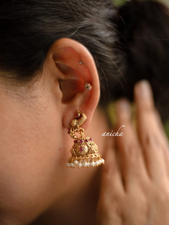 Pretty Gold Finish Peacock Motif Jhumkas-01