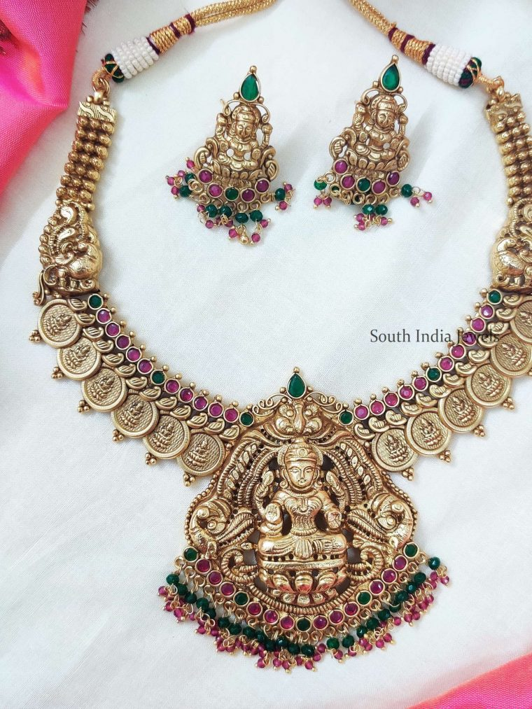 Ruby & Green Stone Temple Lakshmi Coin Necklace