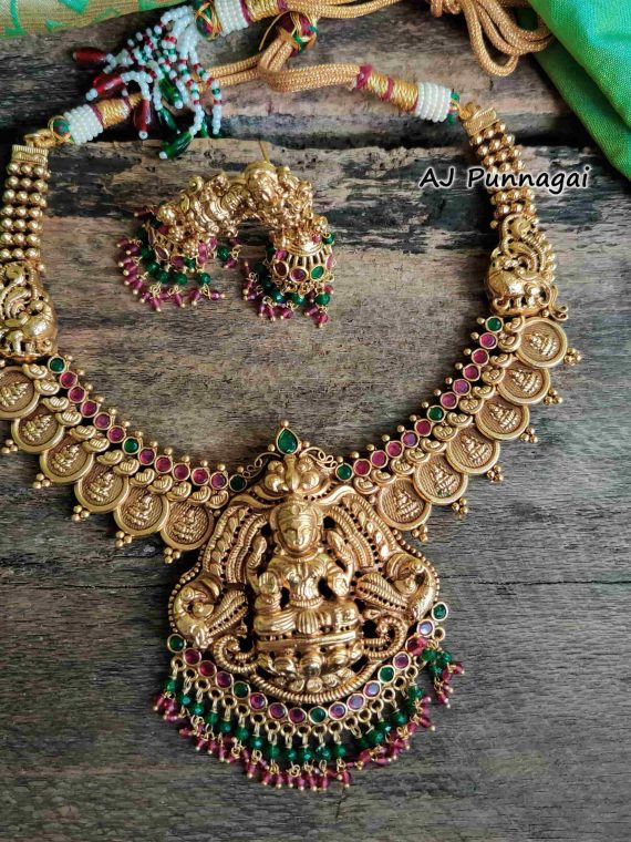 Ruby & Green Stone Temple Lakshmi Coin Necklace-01