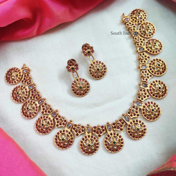 Ruby Stone Matte Finish Necklace (3)