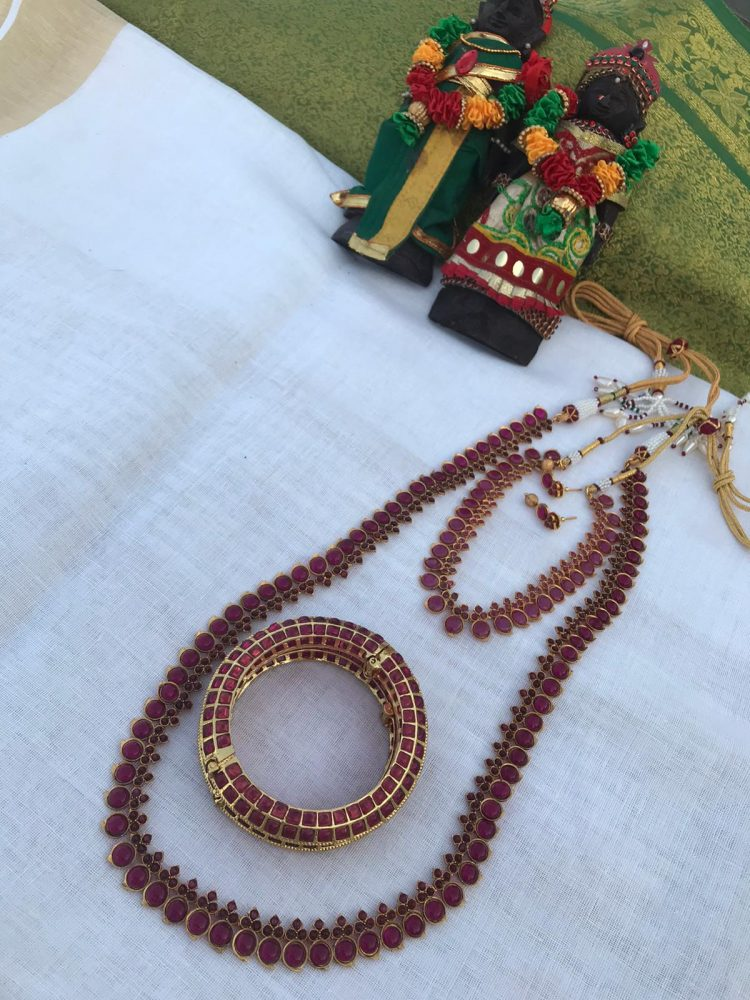 Semi Bridal Full Ruby Stone Set with Bangles-01