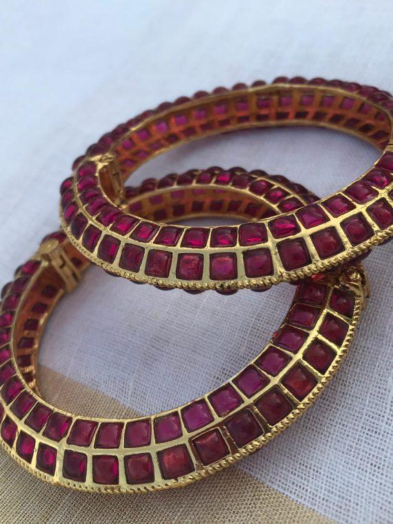 Semi Bridal Full Ruby Stone Set with Bangles-02