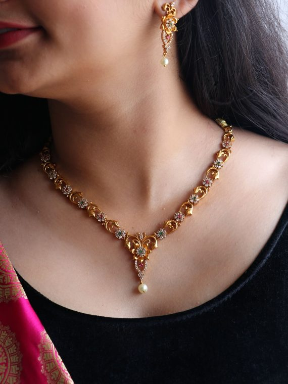 Simple AD Floral Gold Finish Short Necklace-01