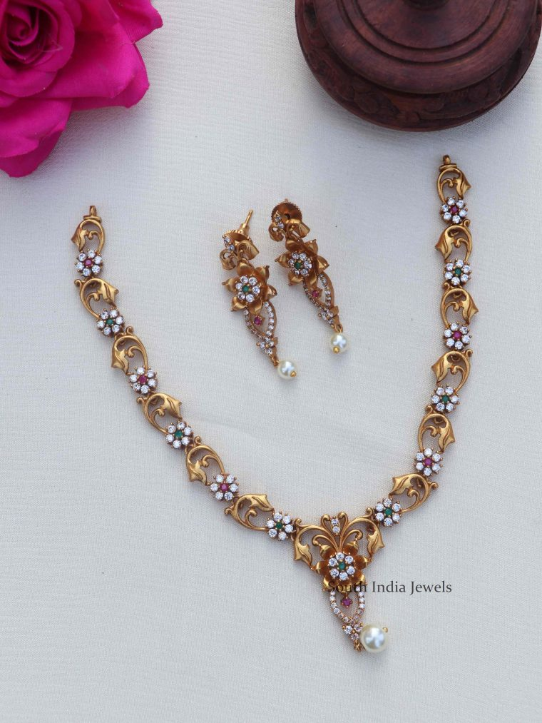 Simple AD Floral Gold Finish Short Necklace