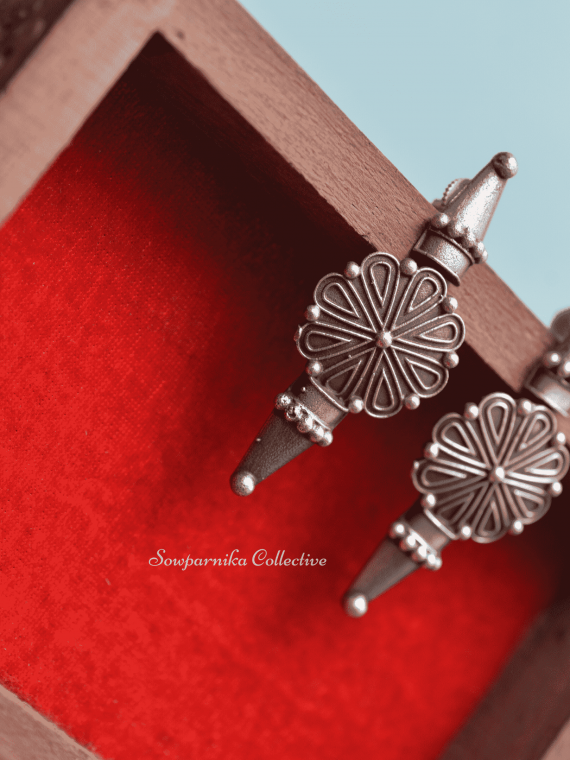 Simple Flower Design German Silver Earrings-01