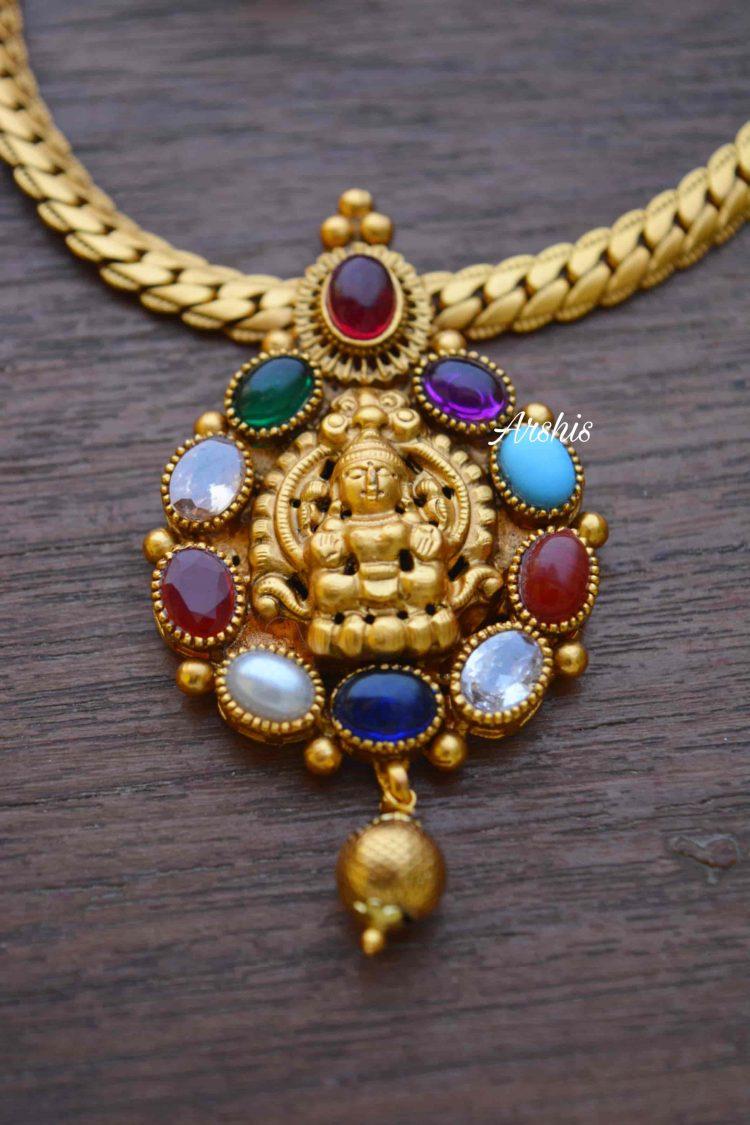 Simple Navarathna Lakshmi Pendant Necklace-02