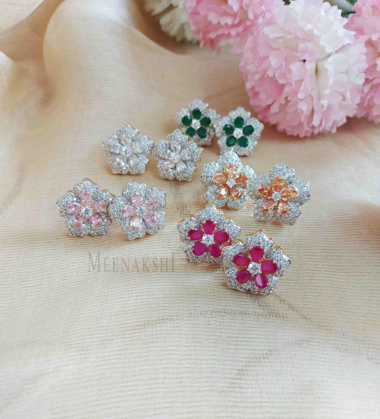 Sparkling Floral Diamond Eartops-01