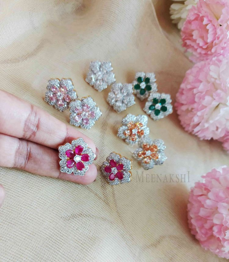 Sparkling Floral Diamond Eartops-02