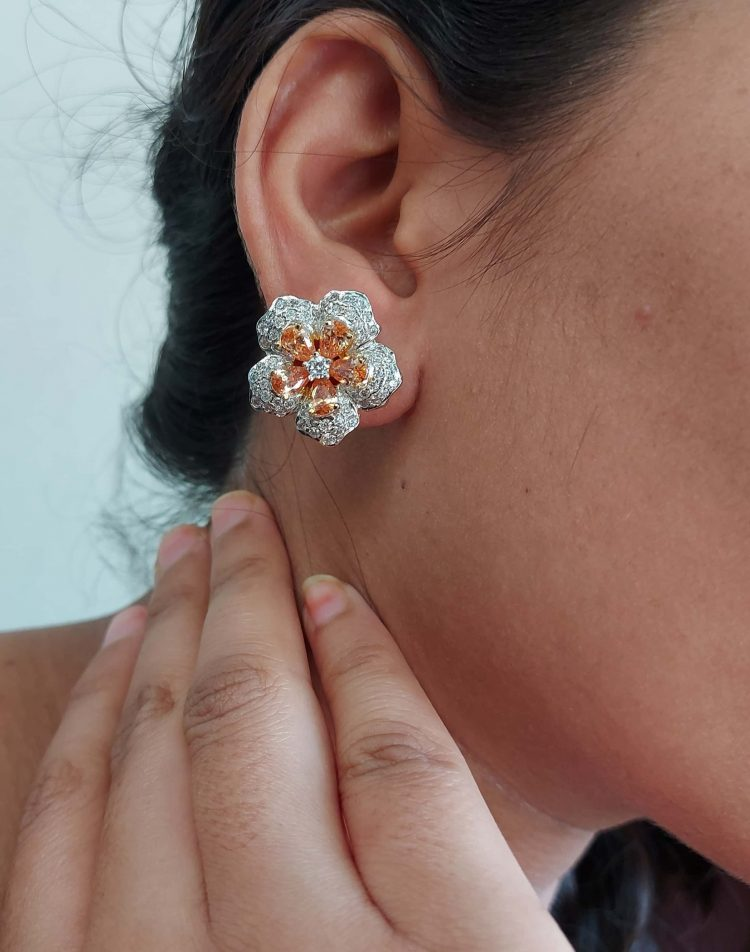 Sparkling Floral Diamond Eartops-05