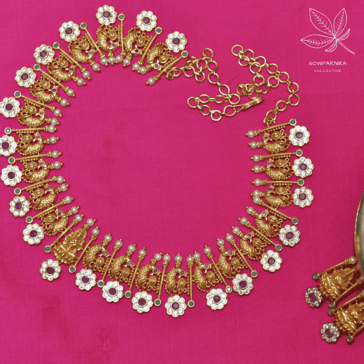 Sparkling Peacock AD Stone Necklace -01