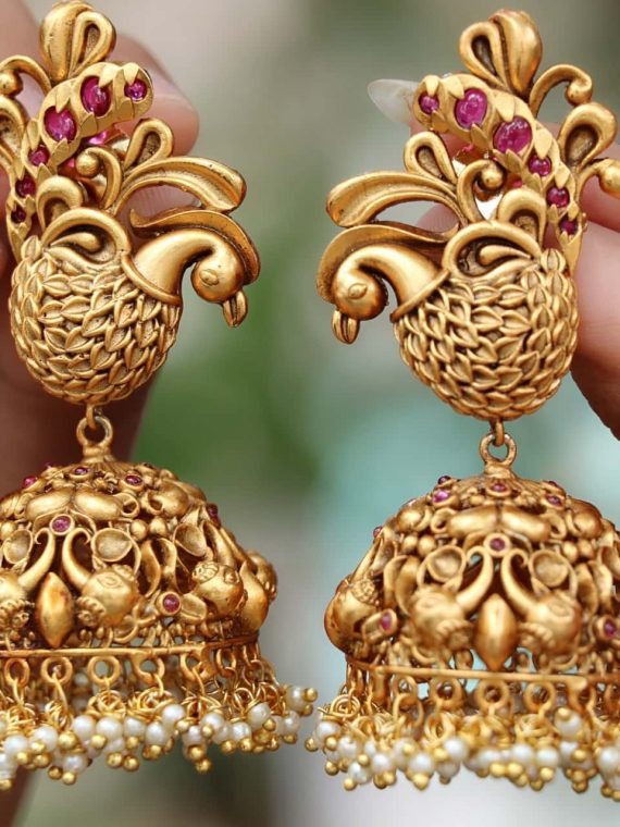 Sparkling Pearl Cluster Peacock Jhumkas-01